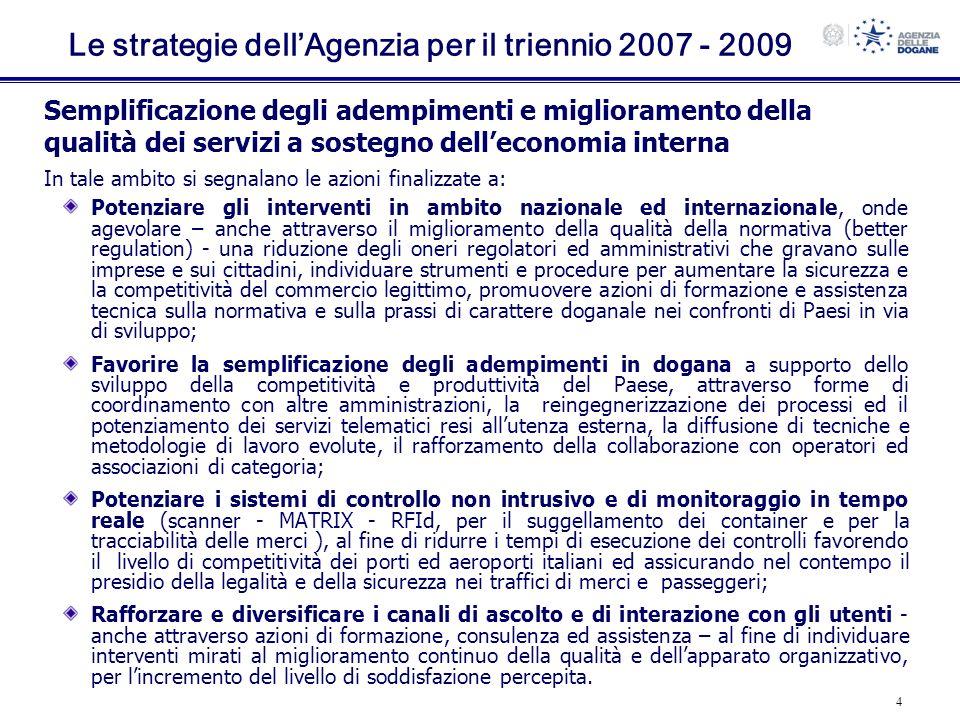 Le strategie dell'Agenzia per il triennio 2007 - 2009