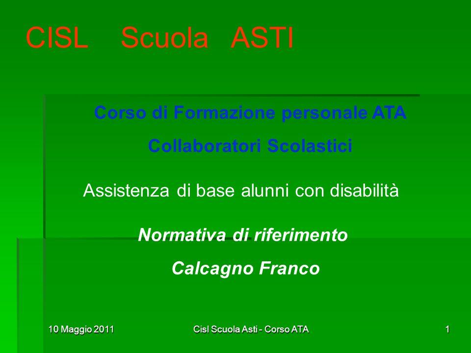 CISL Scuola ASTI Corso di Formazione personale ATA