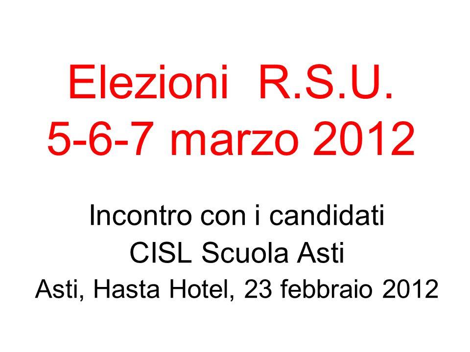 Elezioni R.S.U. 5-6-7 marzo 2012 Incontro con i candidati
