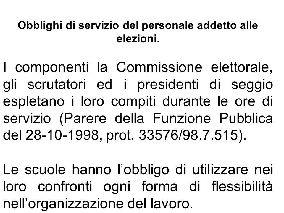 Obblighi di servizio del personale addetto alle elezioni.