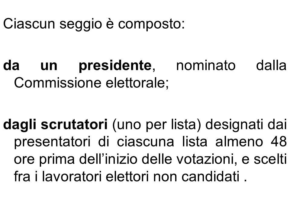 Ciascun seggio è composto:
