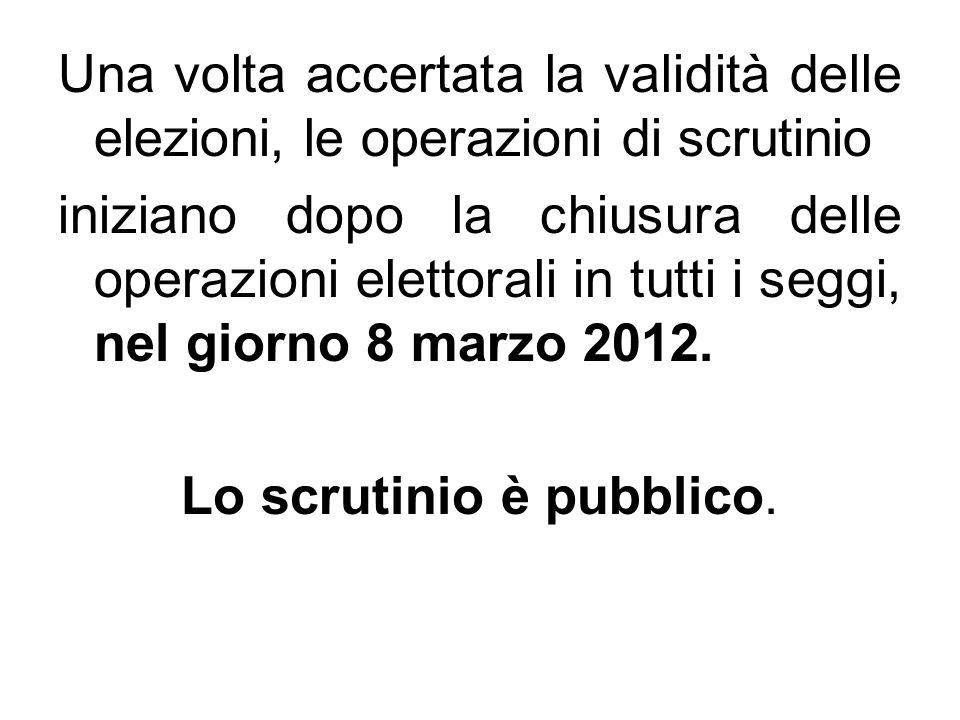 Lo scrutinio è pubblico.
