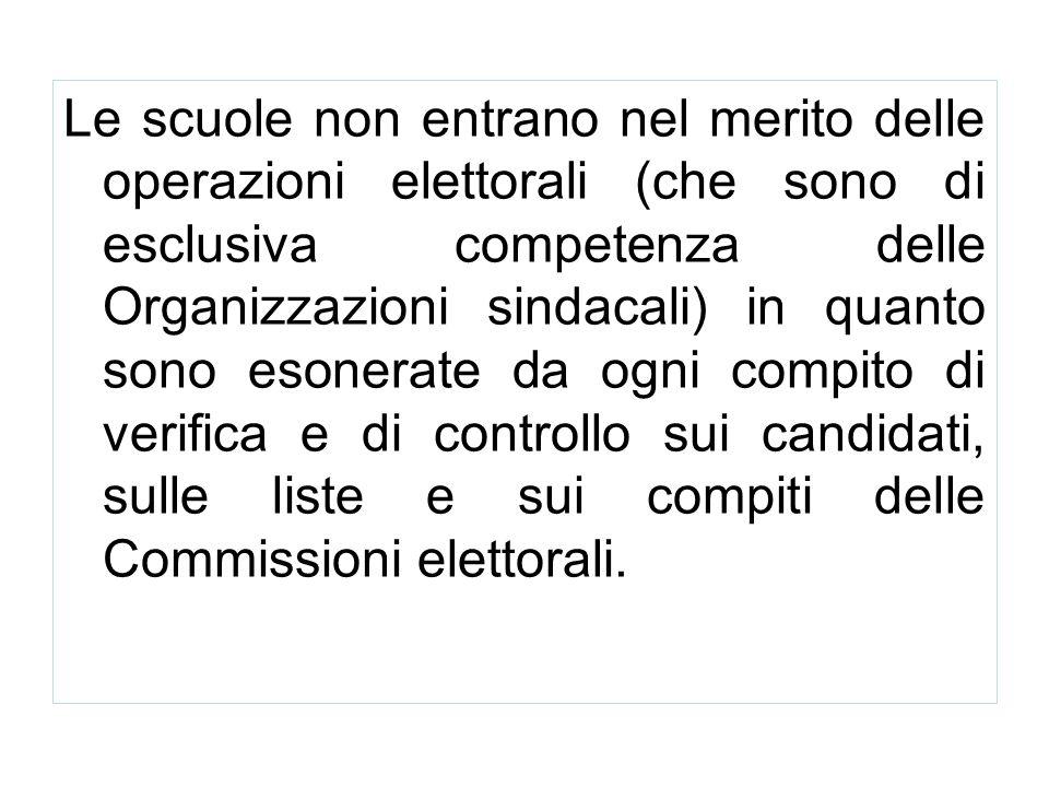 Le scuole non entrano nel merito delle operazioni elettorali (che sono di esclusiva competenza delle Organizzazioni sindacali) in quanto sono esonerate da ogni compito di verifica e di controllo sui candidati, sulle liste e sui compiti delle Commissioni elettorali.