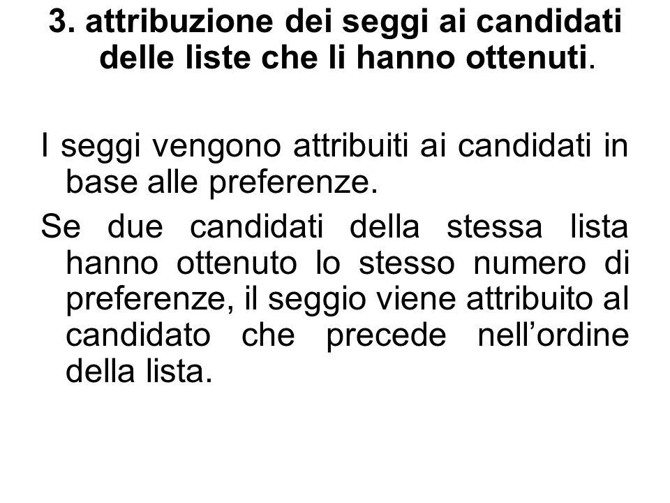 3. attribuzione dei seggi ai candidati delle liste che li hanno ottenuti.