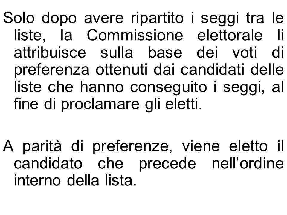 Solo dopo avere ripartito i seggi tra le liste, la Commissione elettorale li attribuisce sulla base dei voti di preferenza ottenuti dai candidati delle liste che hanno conseguito i seggi, al fine di proclamare gli eletti.