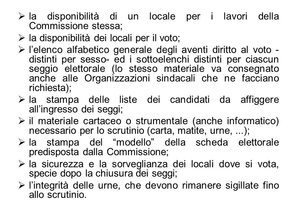 la disponibilità di un locale per i lavori della Commissione stessa;