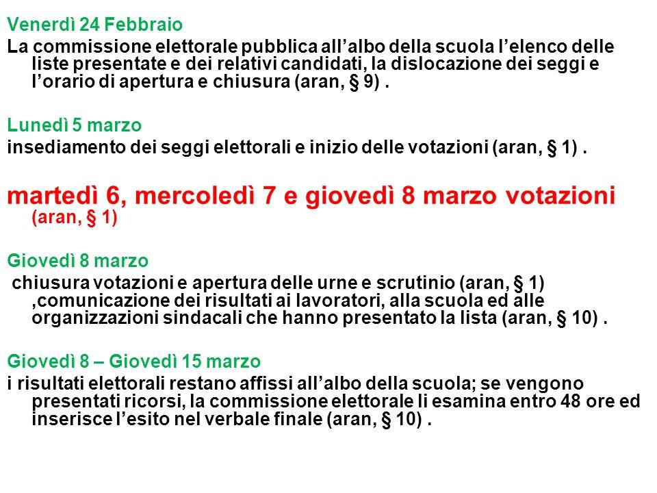 martedì 6, mercoledì 7 e giovedì 8 marzo votazioni (aran, § 1)