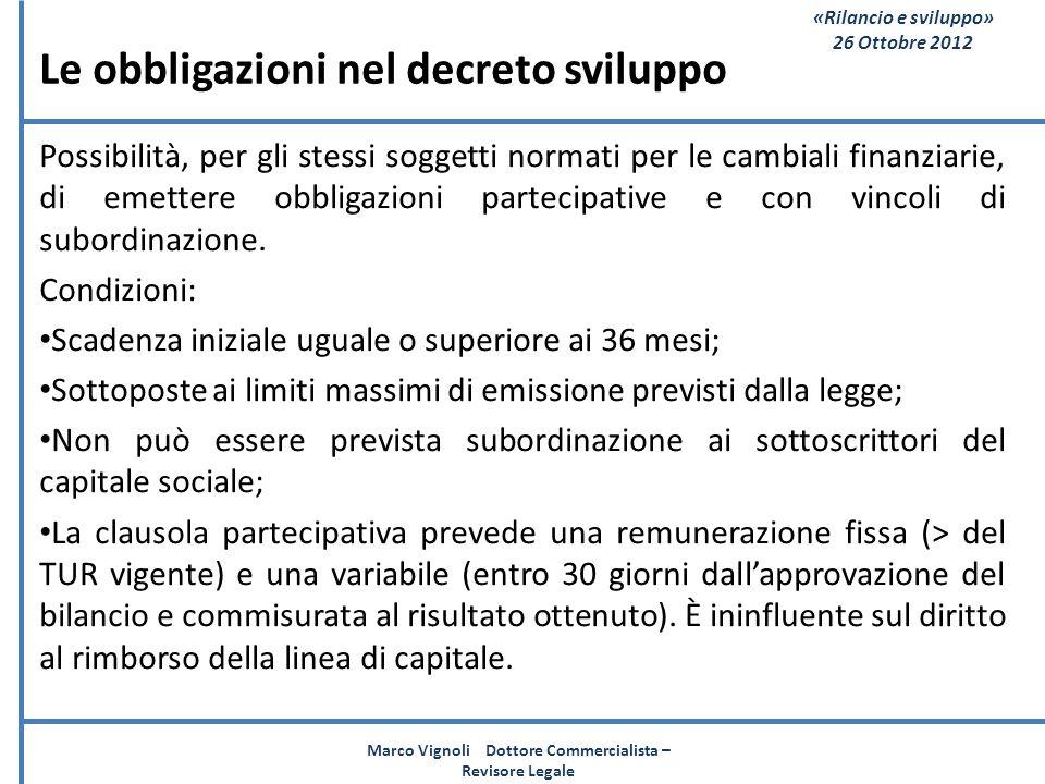 Le obbligazioni nel decreto sviluppo