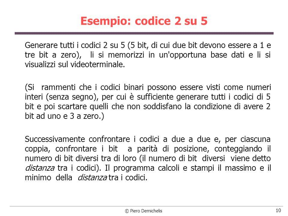 Esempio: codice 2 su 5