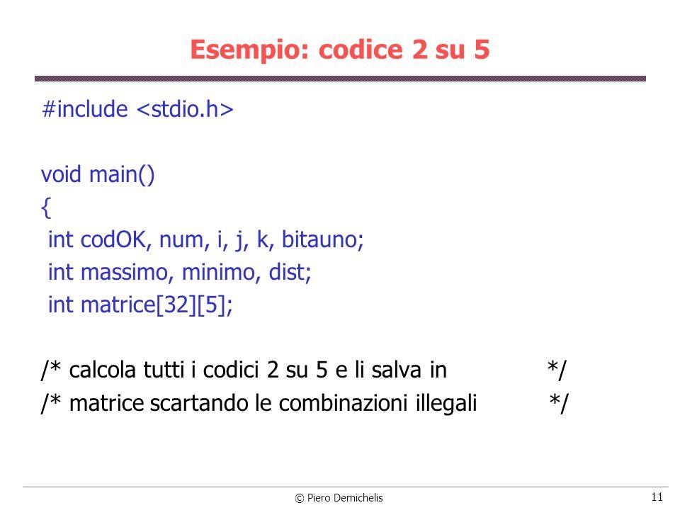 Esempio: codice 2 su 5 #include <stdio.h> void main() {