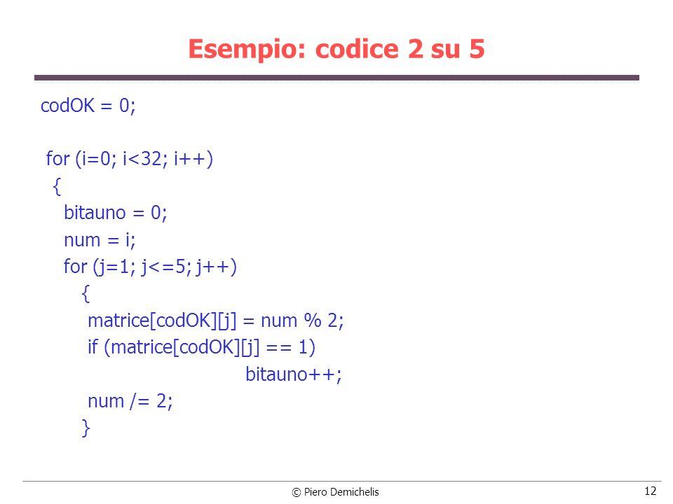 Esempio: codice 2 su 5 codOK = 0; for (i=0; i<32; i++) {