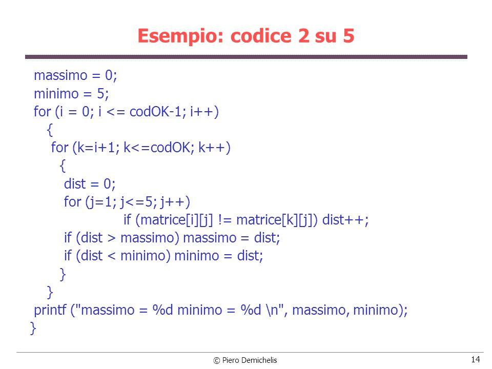 Esempio: codice 2 su 5 massimo = 0; minimo = 5;