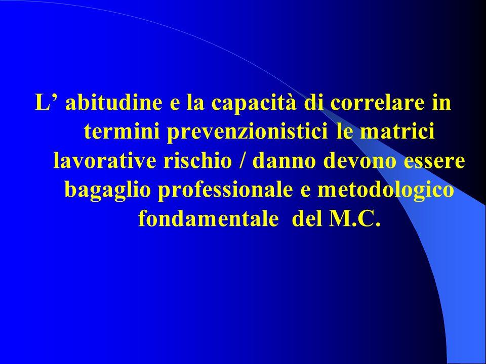 L' abitudine e la capacità di correlare in termini prevenzionistici le matrici lavorative rischio / danno devono essere bagaglio professionale e metodologico fondamentale del M.C.