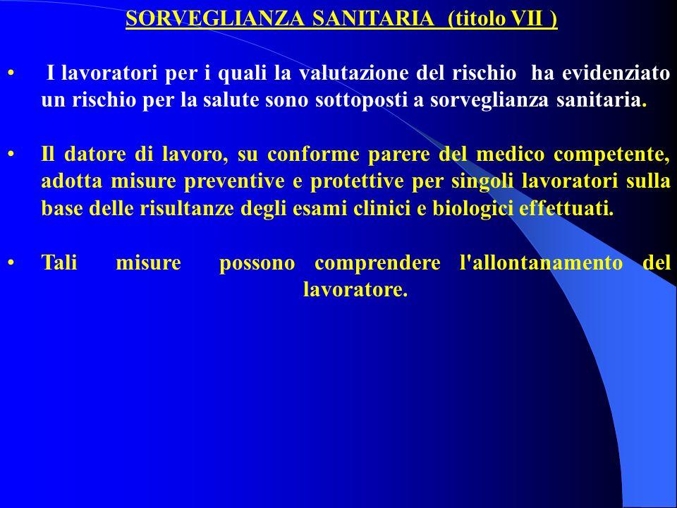 SORVEGLIANZA SANITARIA (titolo VII )