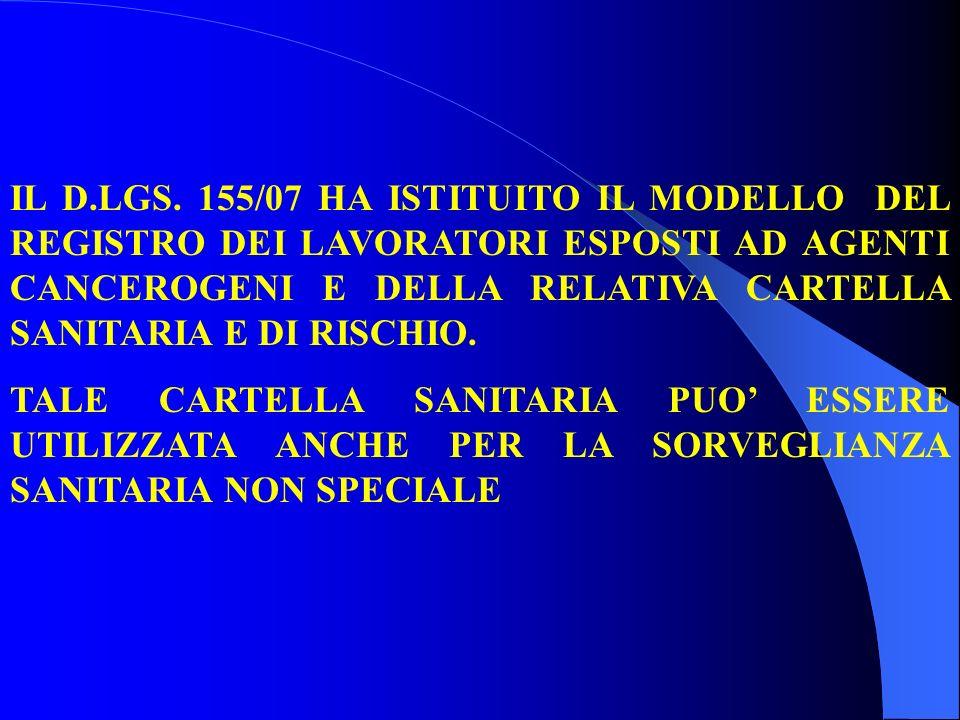 IL D.LGS. 155/07 HA ISTITUITO IL MODELLO DEL REGISTRO DEI LAVORATORI ESPOSTI AD AGENTI CANCEROGENI E DELLA RELATIVA CARTELLA SANITARIA E DI RISCHIO.