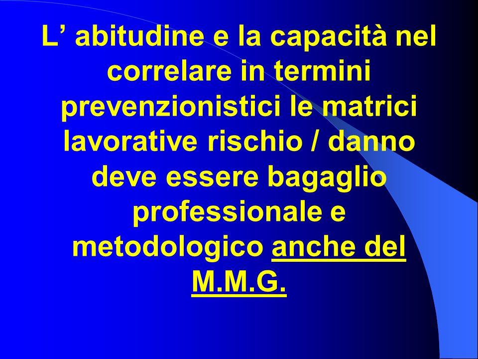 L' abitudine e la capacità nel correlare in termini prevenzionistici le matrici lavorative rischio / danno deve essere bagaglio professionale e metodologico anche del M.M.G.