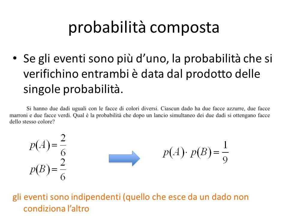 probabilità composta Se gli eventi sono più d'uno, la probabilità che si verifichino entrambi è data dal prodotto delle singole probabilità.