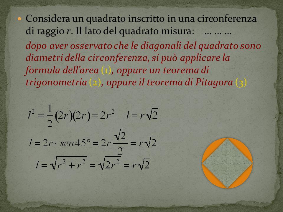 Considera un quadrato inscritto in una circonferenza di raggio r