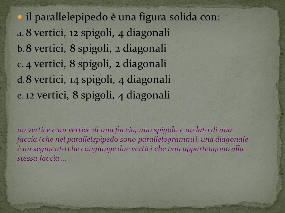 il parallelepipedo è una figura solida con:
