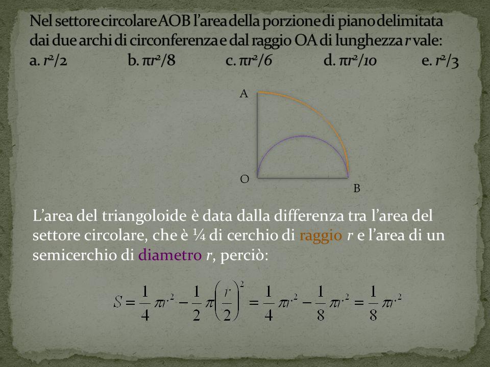 Nel settore circolare AOB l'area della porzione di piano delimitata dai due archi di circonferenza e dal raggio OA di lunghezza r vale: a. r2/2 b. πr2/8 c. πr2/6 d. πr2/10 e. r2/3