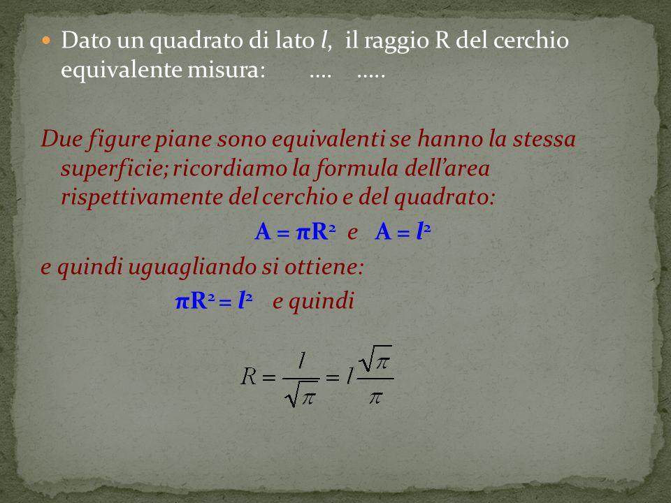 e quindi uguagliando si ottiene: πR2 = l2 e quindi