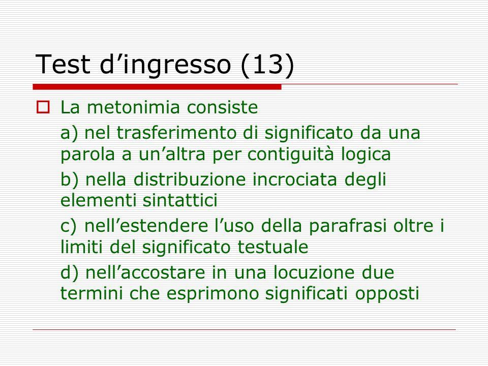 Test d'ingresso (13) La metonimia consiste