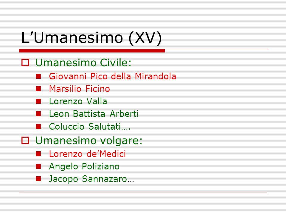 L'Umanesimo (XV) Umanesimo Civile: Umanesimo volgare: