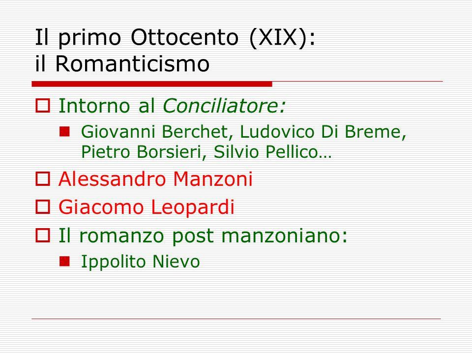 Il primo Ottocento (XIX): il Romanticismo