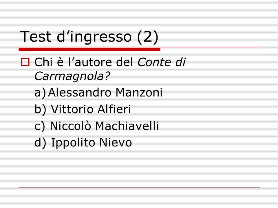 Test d'ingresso (2) Chi è l'autore del Conte di Carmagnola