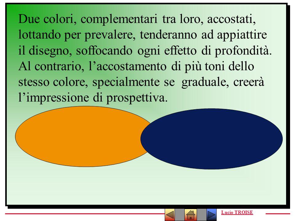 Due colori, complementari tra loro, accostati, lottando per prevalere, tenderanno ad appiattire il disegno, soffocando ogni effetto di profondità.