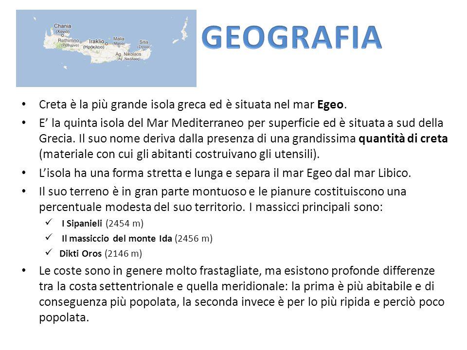 GEOGRAFIA Creta è la più grande isola greca ed è situata nel mar Egeo.