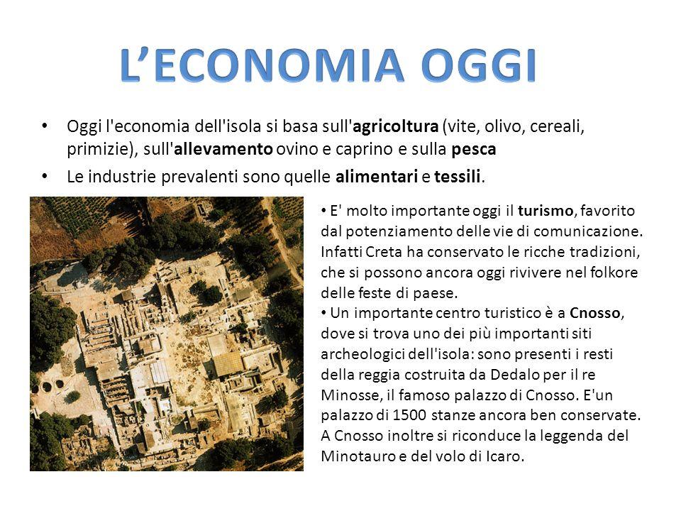 L'ECONOMIA OGGI Oggi l economia dell isola si basa sull agricoltura (vite, olivo, cereali, primizie), sull allevamento ovino e caprino e sulla pesca.