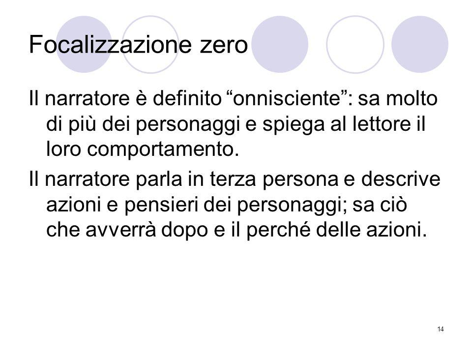 Focalizzazione zero Il narratore è definito onnisciente : sa molto di più dei personaggi e spiega al lettore il loro comportamento.