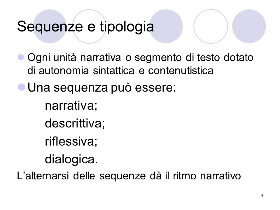 Sequenze e tipologia Una sequenza può essere: narrativa; descrittiva;