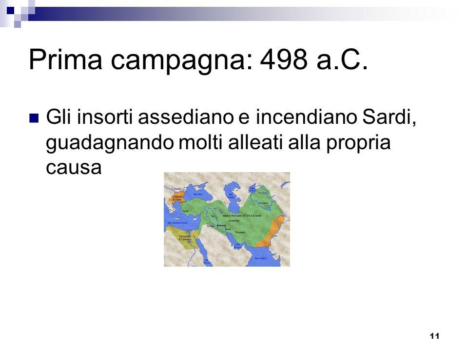 Prima campagna: 498 a.C.Gli insorti assediano e incendiano Sardi, guadagnando molti alleati alla propria causa.