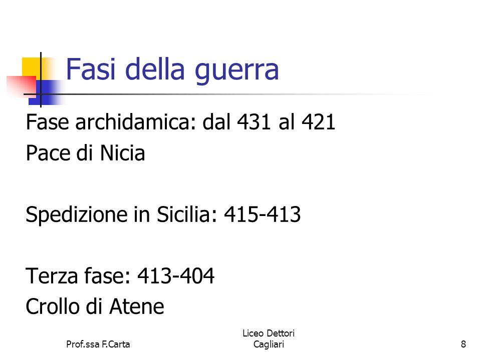 Fasi della guerra Fase archidamica: dal 431 al 421 Pace di Nicia