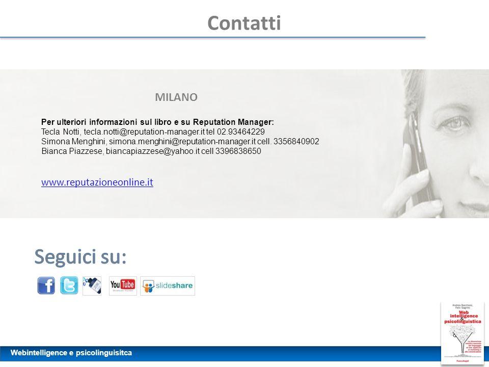 Contatti Seguici su: MILANO www.reputazioneonline.it
