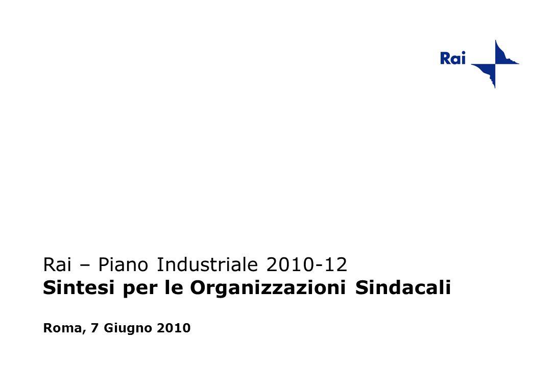Rai – Piano Industriale 2010-12 Sintesi per le Organizzazioni Sindacali