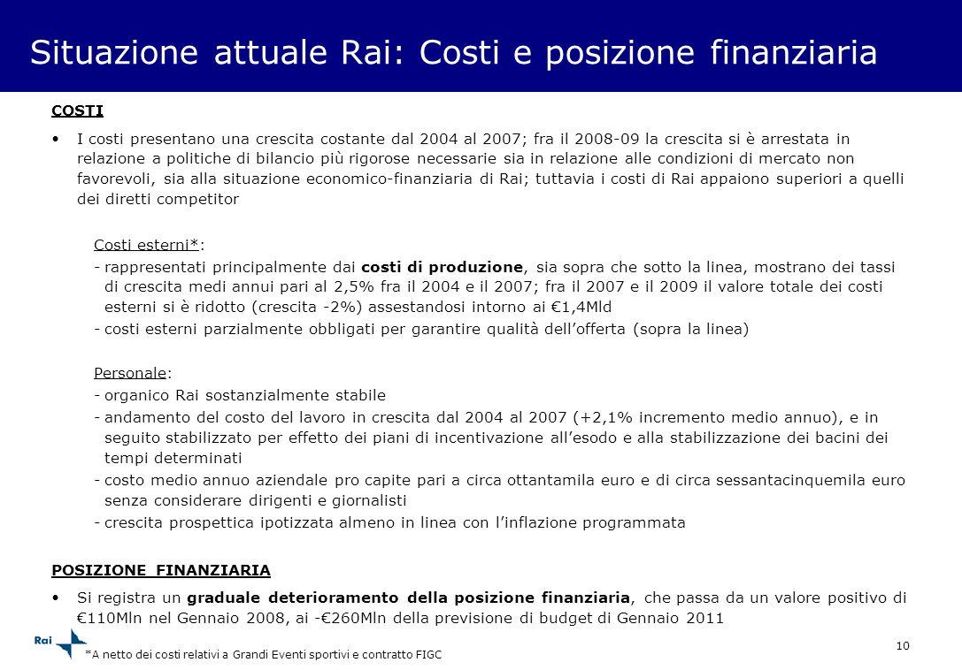 Situazione attuale Rai: Costi e posizione finanziaria
