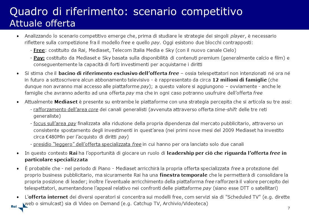 Quadro di riferimento: scenario competitivo Attuale offerta