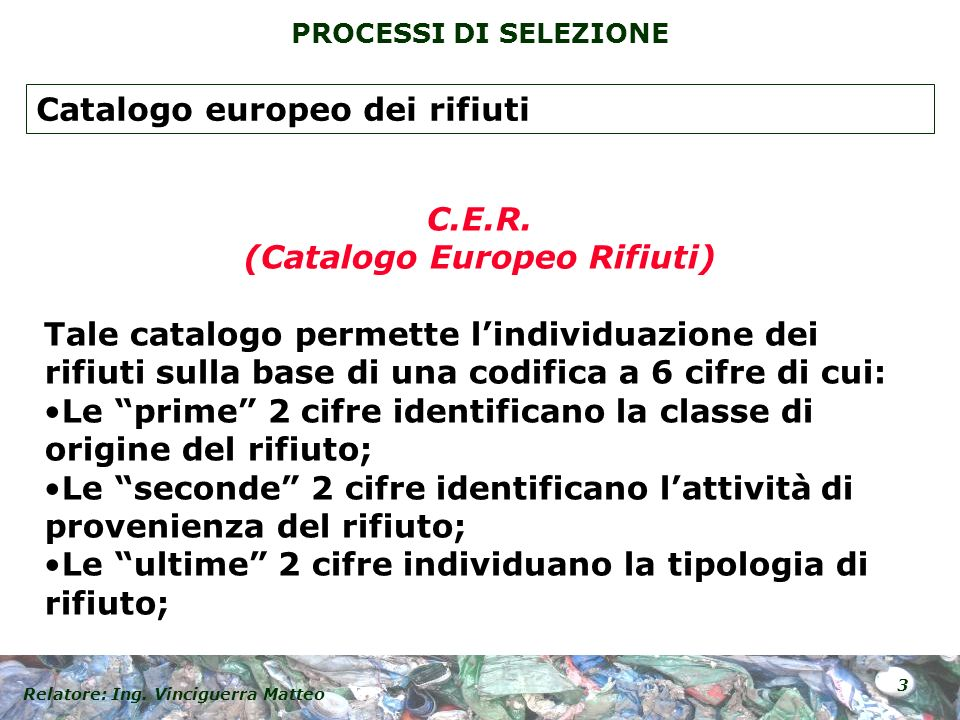 (Catalogo Europeo Rifiuti)