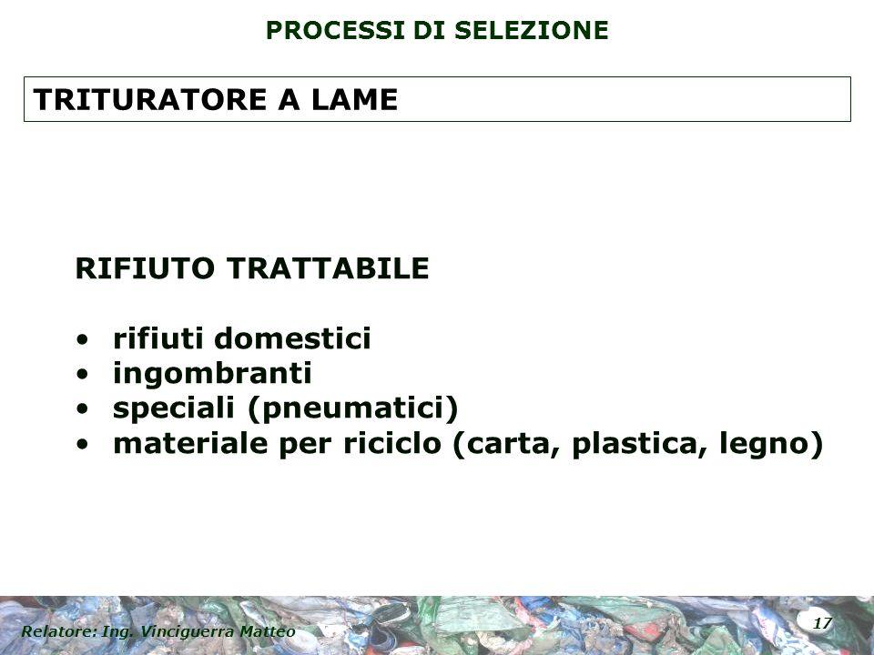 TRITURATORE A LAME RIFIUTO TRATTABILE. rifiuti domestici.