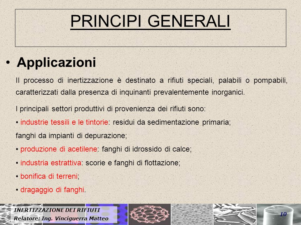 PRINCIPI GENERALI Applicazioni