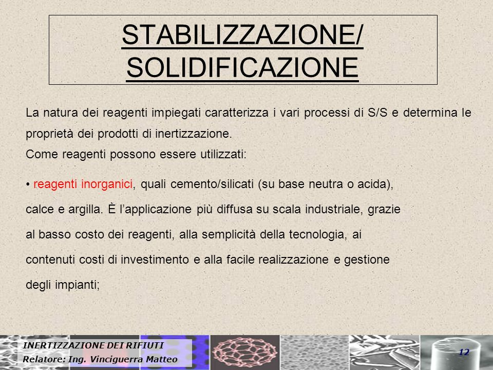 STABILIZZAZIONE/ SOLIDIFICAZIONE