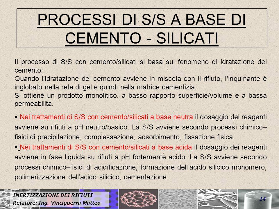 PROCESSI DI S/S A BASE DI CEMENTO - SILICATI