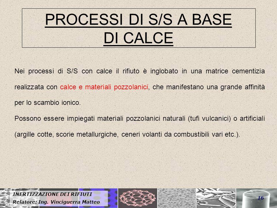 PROCESSI DI S/S A BASE DI CALCE