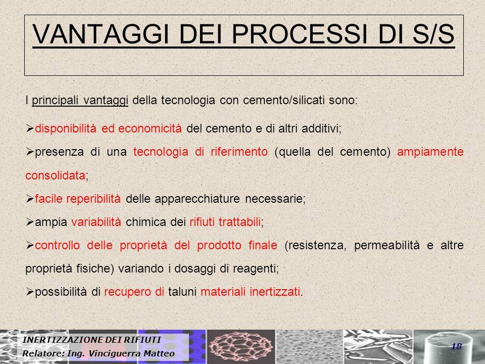 VANTAGGI DEI PROCESSI DI S/S