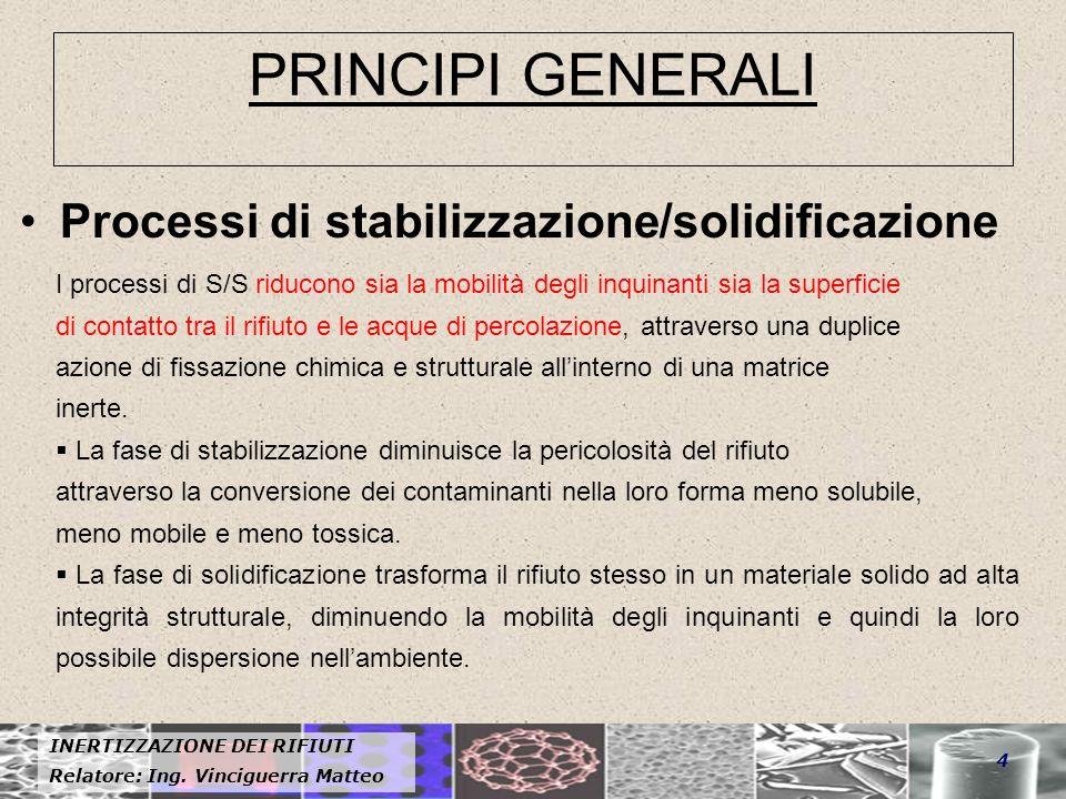 PRINCIPI GENERALI Processi di stabilizzazione/solidificazione
