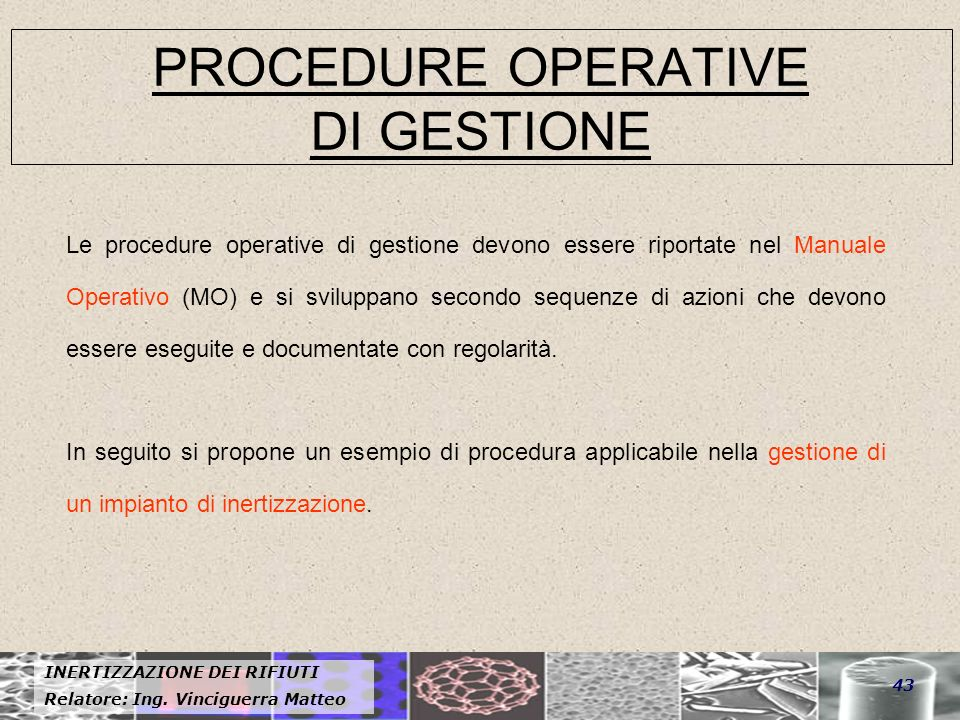 PROCEDURE OPERATIVE DI GESTIONE
