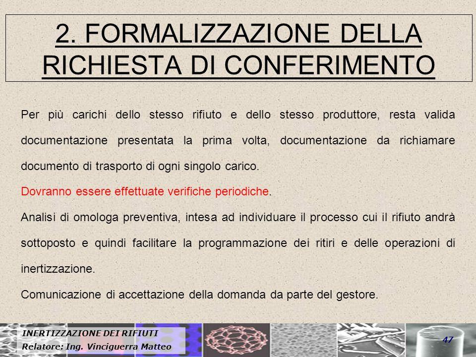 2. FORMALIZZAZIONE DELLA RICHIESTA DI CONFERIMENTO